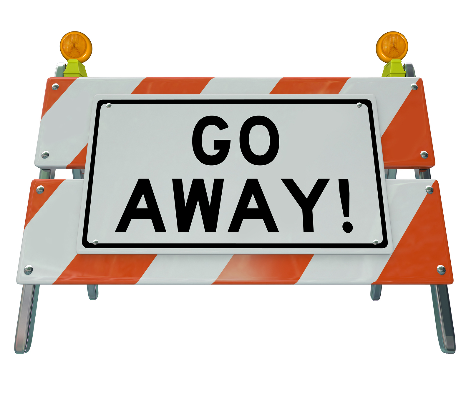 A road barrier reading Go Away tells you to stay back due to an