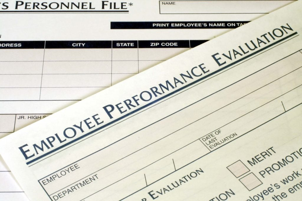 this is a close up image of an employee performance evaluation.