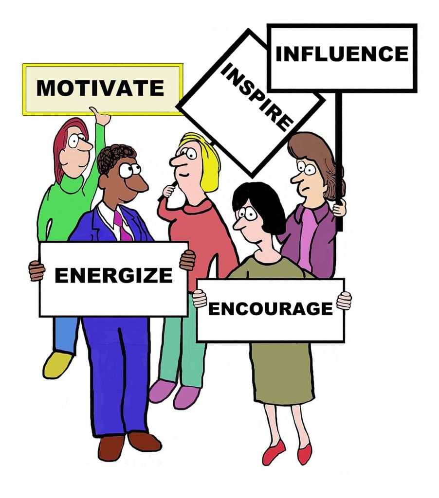 Cartoon of businesspeople defining the characteristics associated with motivate: inspire, influence, encourage, energize.