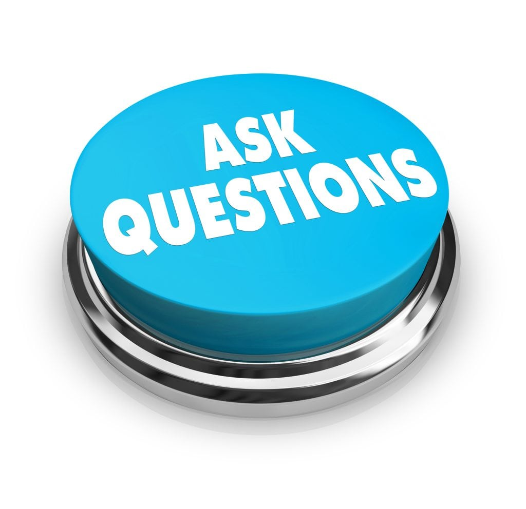 A blue button with the words Ask Questions on it